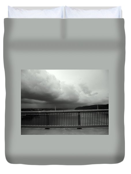Duvet Cover featuring the photograph Storm Clouds On The Hudson by Bruce Carpenter
