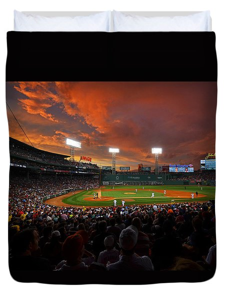 Storm Clouds Over Fenway Park Duvet Cover