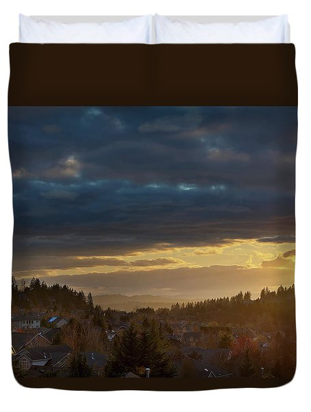 Storm Clouds Over Happy Valley During Sunset Duvet Cover by David Gn
