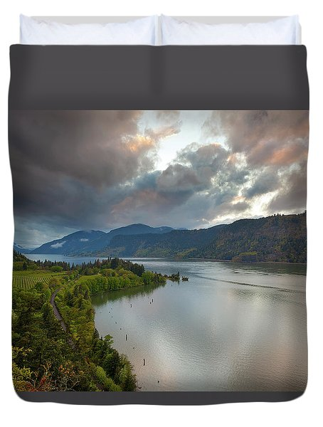 Storm Clouds Over Hood River Duvet Cover by David Gn