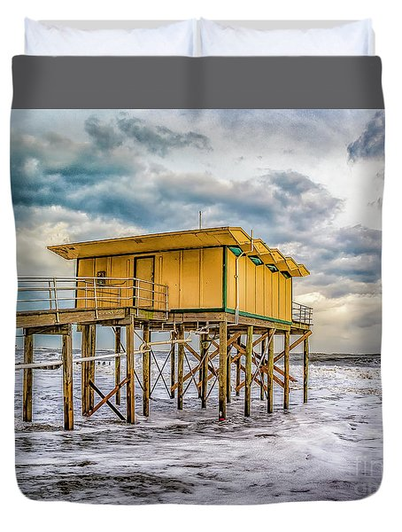 Duvet Cover featuring the photograph Storm Clouds Over The Ocean by Nick Zelinsky