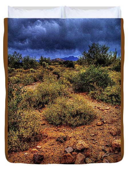 Storm Clouds Over The Sonoran Desert In Spring Duvet Cover