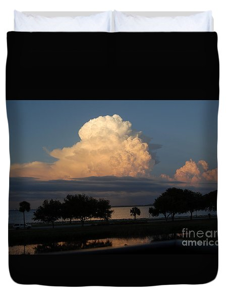 Summer Storm Clouds Tampa Bay In Florida Duvet Cover by Cheryl Poland