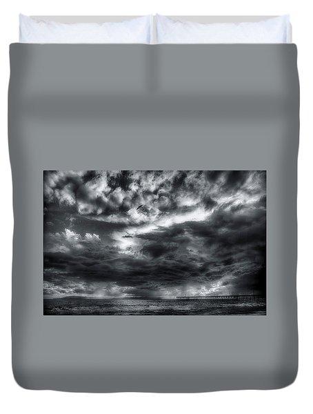 Storm Clouds Ventura Ca Pier Duvet Cover