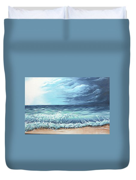 Duvet Cover featuring the painting Storm Front by William Love