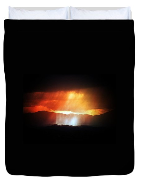 Duvet Cover featuring the photograph Storm Glow Night Over Santa Fe Mountains by Joseph Frank Baraba