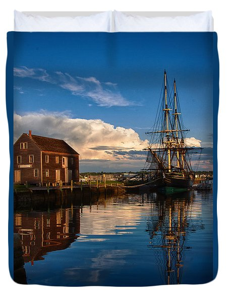 Duvet Cover featuring the photograph Storm Leaves Reflection On Salem by Jeff Folger