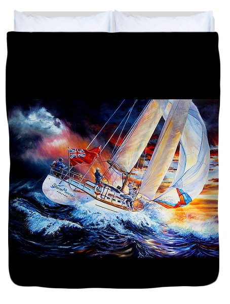 Duvet Cover featuring the painting Storm Meister by Hanne Lore Koehler