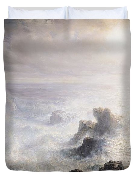 Storm Off The Coast Of Belle Ile Duvet Cover by Jean Antoine Theodore Gudin