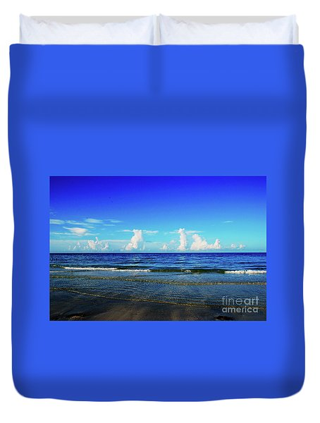 Duvet Cover featuring the photograph Storm On The Horizon by Gary Wonning