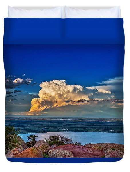Duvet Cover featuring the photograph Storm On The Horizon by James Menzies