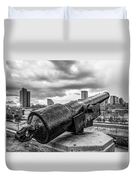 Storm Over Baltimore Black And White Duvet Cover