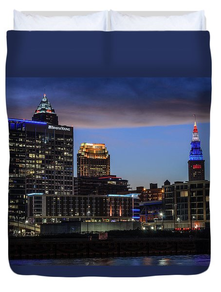 Storm Over Cleveland Duvet Cover
