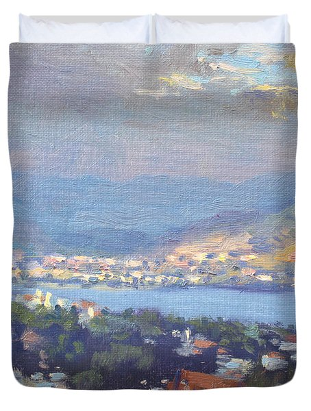 Storm Over Dilesi And Evia Island  Duvet Cover