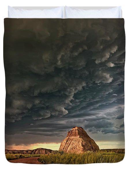 Storm Over Dinosaur Duvet Cover