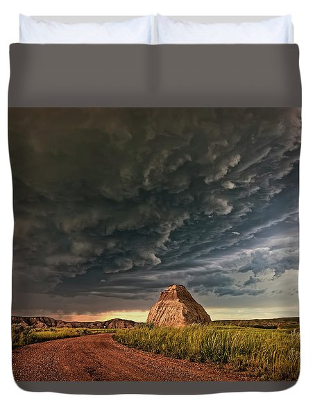 Storm Over Dinosaur Duvet Cover
