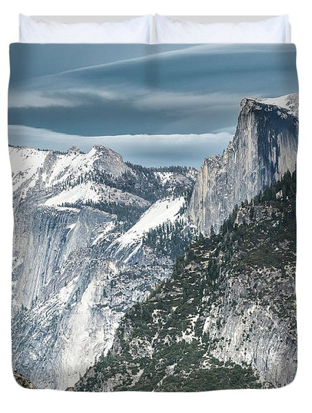 Duvet Cover featuring the photograph Storm Over Half Dome by Sandra Bronstein