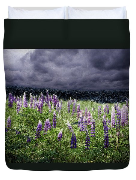 Storm Over Lupine Duvet Cover