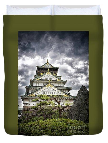 Storm Over Osaka Castle Duvet Cover
