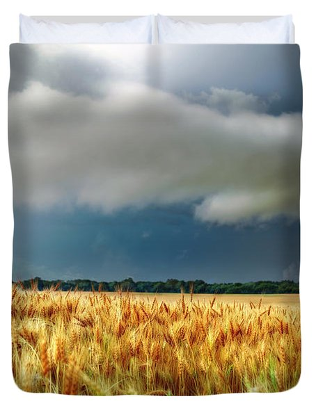 Storm Over Ripening Wheat Duvet Cover