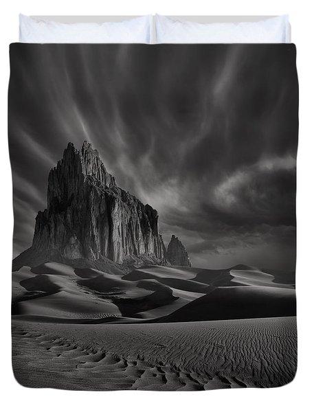 Storm Over Shiprock New Mexico Duvet Cover
