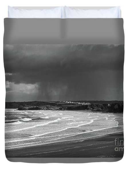 Storm  Over The Bay Duvet Cover by Nicholas Burningham