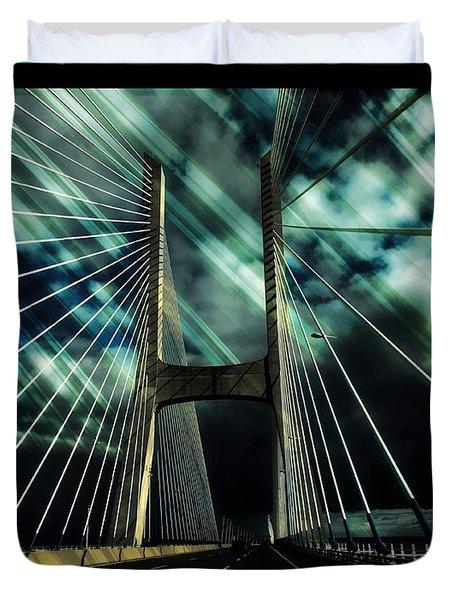Storm Over The Bridge  Duvet Cover