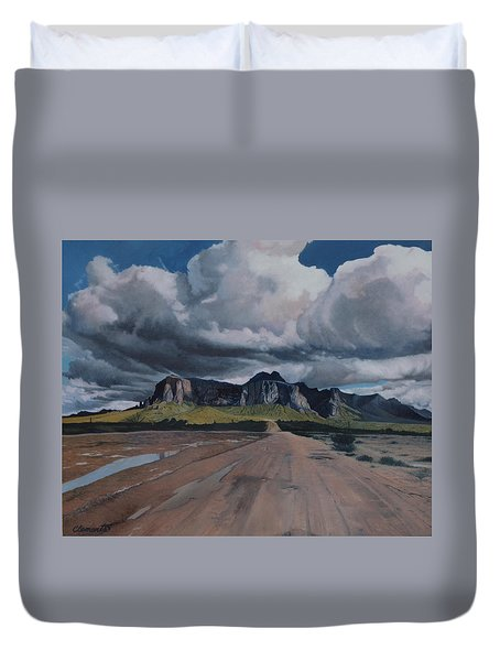 Storm Over The Superstitions Duvet Cover