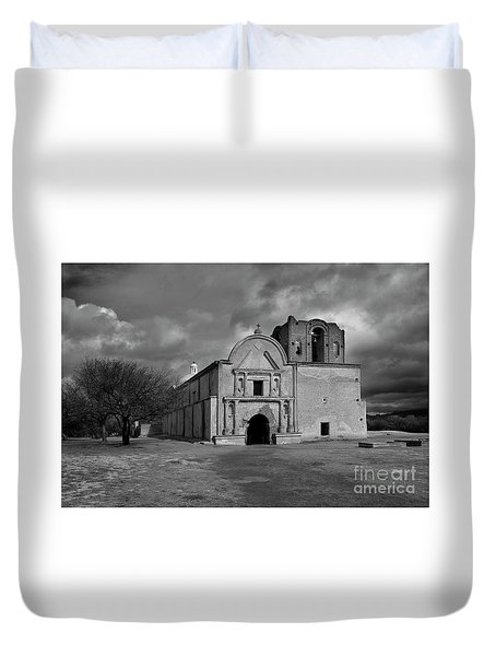 Duvet Cover featuring the photograph Storm Over Tumacacori II by Sandra Bronstein