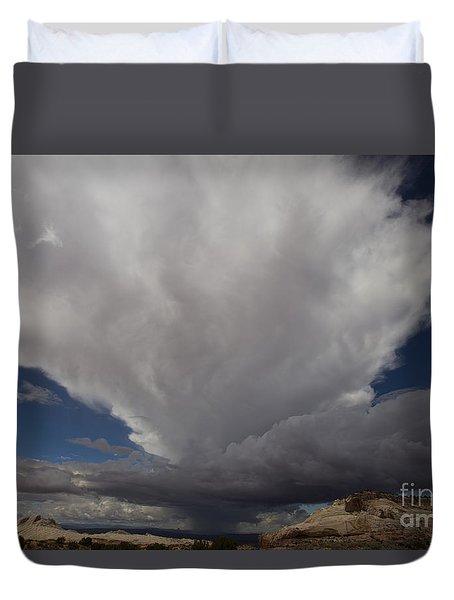 Storm Over White Pocket Duvet Cover