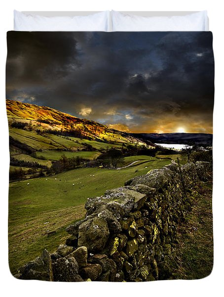 Storm Over Windermere Duvet Cover by Meirion Matthias