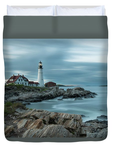 Storm Passing At Portland Head Light Duvet Cover