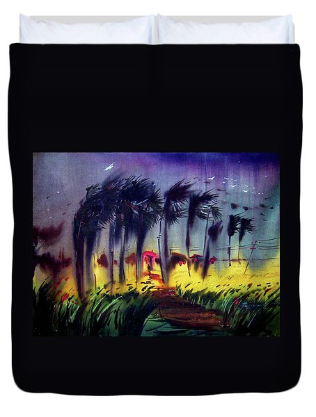 Duvet Cover featuring the painting Storm by Samiran Sarkar