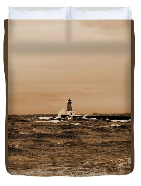 Storm Sandy Effects Menominee Lighthouse Sepia Duvet Cover