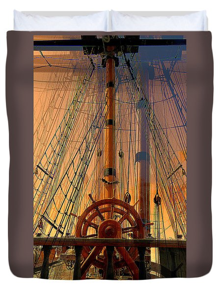 Duvet Cover featuring the photograph Storm Ship Of Old by Lori Seaman