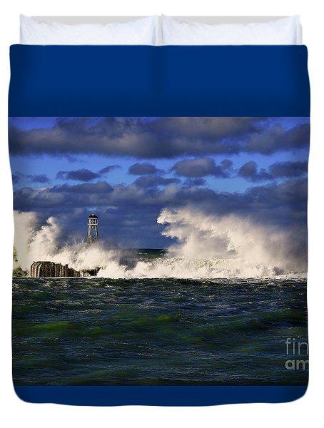 Storm Surf Batters Breakwater Duvet Cover