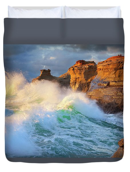 Duvet Cover featuring the photograph Storm Watchers by Darren White