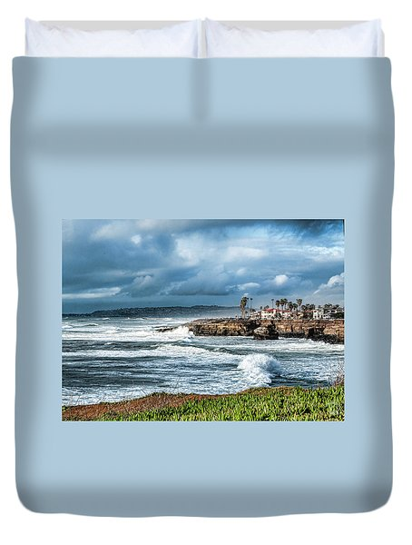 Storm Wave At Sunset Cliffs Duvet Cover