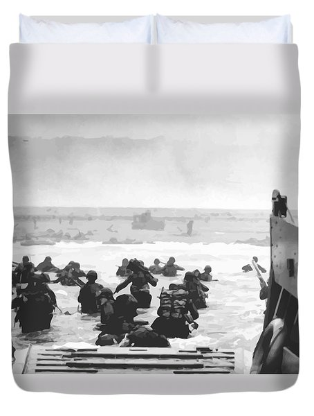 Storming The Beach On D-day  Duvet Cover