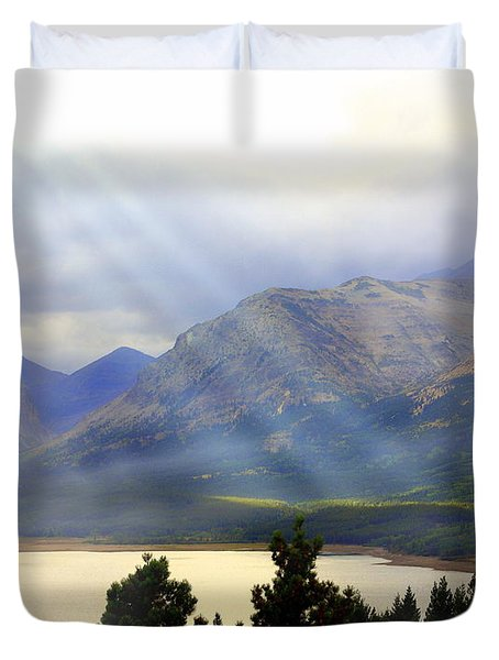 Storms A Coming-lower Two Medicine Lake Duvet Cover