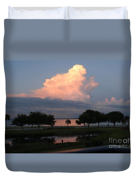 Summer Storms Across Tampa Bay Duvet Cover by Cheryl Poland