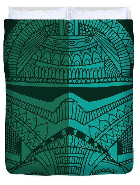 Stormtrooper Helmet - Star Wars Art - Blue Green Duvet Cover