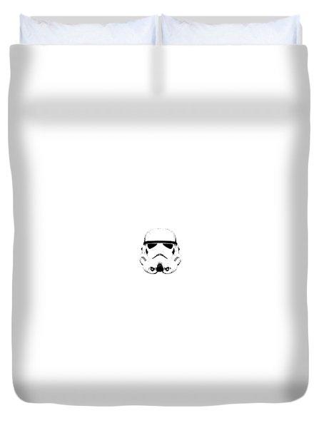 Duvet Cover featuring the digital art Stormtrooper Helmet Star Wars Tee Black Ink by Edward Fielding