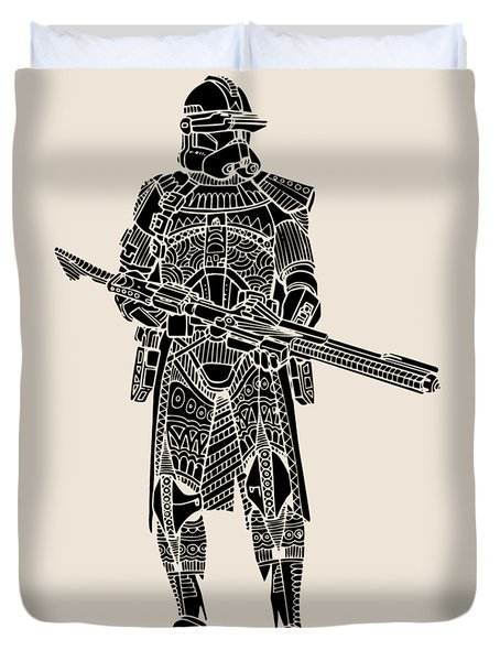 Stormtrooper Samurai - Star Wars Art - Black Duvet Cover