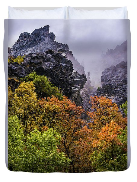 Stormy American Fork Canyon - Wasatch - Utah Duvet Cover by Gary Whitton