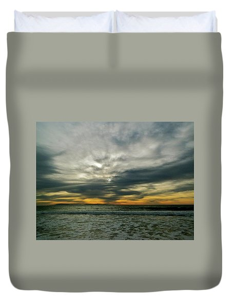 Stormy Beach Clouds Duvet Cover
