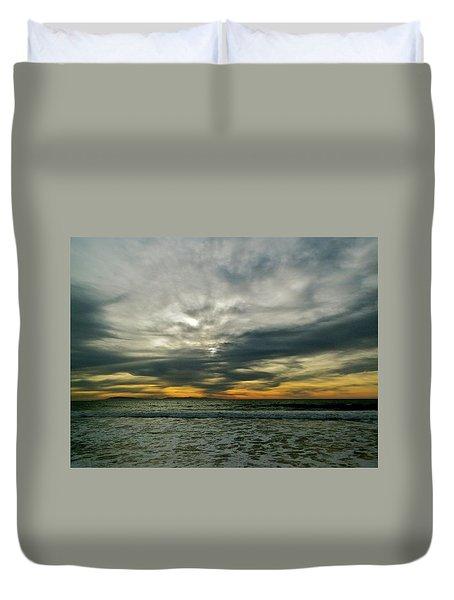 Stormy Beach Clouds Duvet Cover