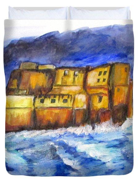 Stormy Castle Dell'ovo, Napoli Duvet Cover