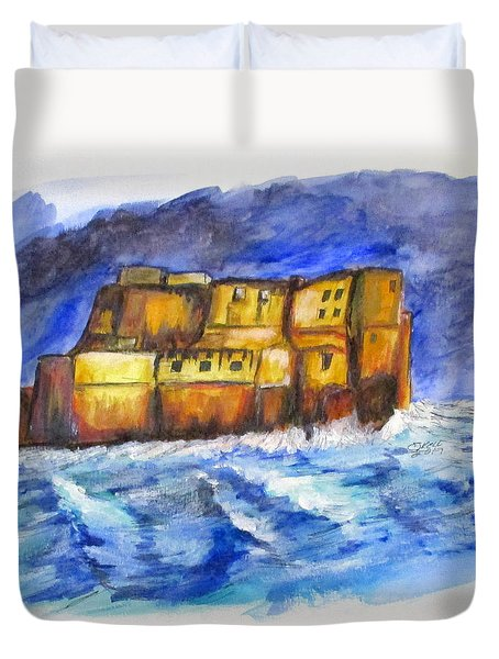 Stormy Castle Dell'ovo, Napoli Duvet Cover by Clyde J Kell