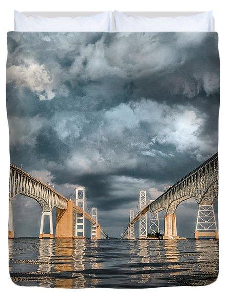 Stormy Chesapeake Bay Bridge Duvet Cover